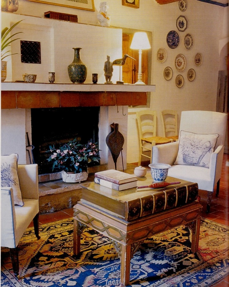 Mary Gilliatt's living room in her house in the south of France