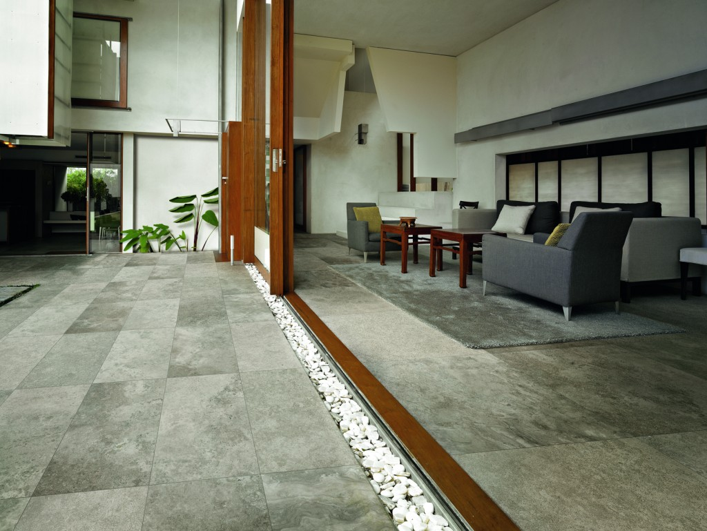Florim's Living Platinum ceramic tiles look just like natural stone.