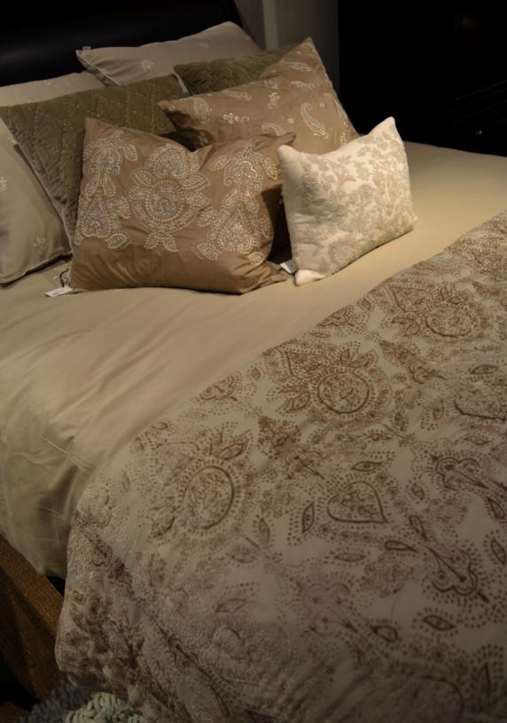 Velvet burnout designs on bedding
