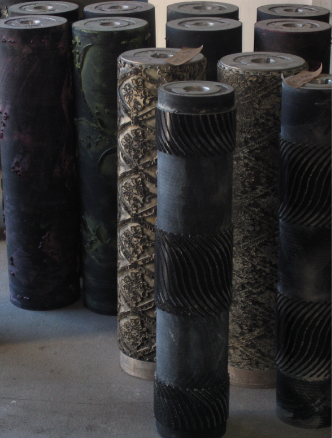 A collection of printing rollers