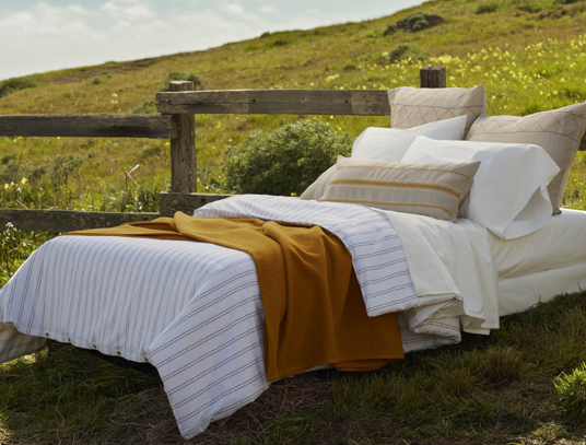 Layered bedding from Coyuchi
