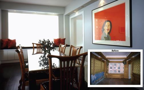 The wallpaper, molding and paneling in the dining room was replaced with modern millwork